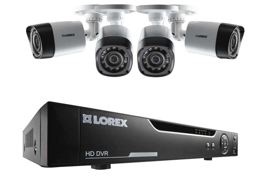 4 Channel security DVR systems with four 720p HD dome cameras